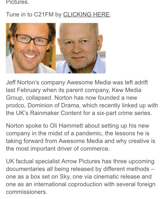 C21 Media Interviews Jeff Norton on C21 Radio